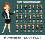 cute business woman with dark... | Shutterstock .eps vector #1270454374