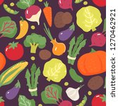 vegetable pattern. cabbage.... | Shutterstock .eps vector #1270462921