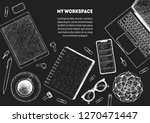 my workspace. office desk table ... | Shutterstock .eps vector #1270471447