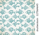 fish pattern in abstract style. ... | Shutterstock .eps vector #127064645