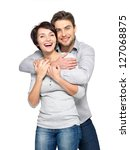 portrait of happy couple... | Shutterstock . vector #127068875