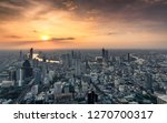 above view of sunset on crowded ... | Shutterstock . vector #1270700317