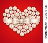 valentine s day pearl heart  ... | Shutterstock .eps vector #127071731
