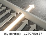 Glowing arrow breaking through wall on concrete background. Breakthrough and success concept. 3D Rendering