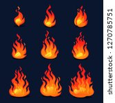 cartoon fire animation design.... | Shutterstock .eps vector #1270785751