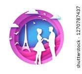 white silhouette of romantic...   Shutterstock .eps vector #1270787437