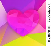 polygonal heart on colorful...