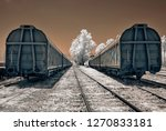 Small photo of train wagons at station, memorial to the murdered jews of europe, holocaust trains were railway transports run for the purpose of forcible deportation of the jews to the extermination camps auschwitz