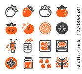 persimmon icon set vector and... | Shutterstock .eps vector #1270868581