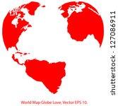 heart world map globe vector... | Shutterstock .eps vector #127086911