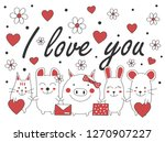 cute animals vector  | Shutterstock .eps vector #1270907227