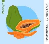 papaya fruit vector flat style | Shutterstock .eps vector #1270975714