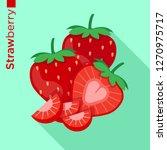 strawberry fruit vector flat... | Shutterstock .eps vector #1270975717