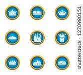 attire crown icons set. flat... | Shutterstock . vector #1270980151