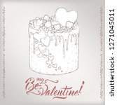 romantic card with holiday cake ... | Shutterstock .eps vector #1271045011