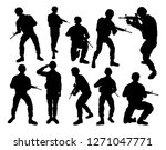 set of detailed silhouettes of... | Shutterstock .eps vector #1271047771
