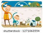father and son doing morning... | Shutterstock .eps vector #1271063554
