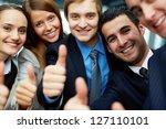 portrait of five business... | Shutterstock . vector #127110101