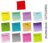 2014 stickers calendar | Shutterstock .eps vector #127110401