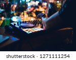 dj plays live set and mixing... | Shutterstock . vector #1271111254