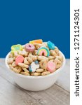 Stock photo marshmallow cereal in a white bowl 1271124301