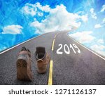 road to new 2019 year  goals... | Shutterstock . vector #1271126137