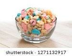 Stock photo marshmallow cereal in a clear bowl 1271132917