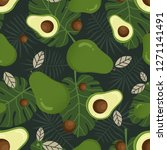 avocado seamless pattern with... | Shutterstock .eps vector #1271141491
