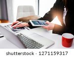 business documents on office... | Shutterstock . vector #1271159317