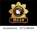 shiny badge with rocket icon... | Shutterstock .eps vector #1271188504