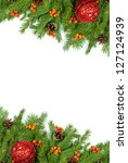 christmas background with balls ... | Shutterstock . vector #127124939