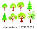 hand drawn tree set isolated on ... | Shutterstock . vector #1271252851