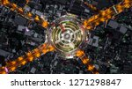 road roundabout with car lots ...   Shutterstock . vector #1271298847