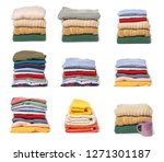 set of stacks of folded clothes ... | Shutterstock . vector #1271301187