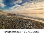 Beach Scene With Many Pebbles...