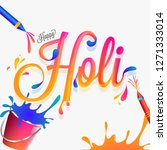 stylish lettering of holi with... | Shutterstock .eps vector #1271333014