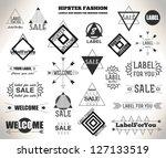 set of flat hipster vintage...   Shutterstock .eps vector #127133519