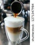 pouring espresso   latte...   Shutterstock . vector #1271347984