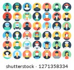 set of colored people and... | Shutterstock .eps vector #1271358334