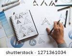 graphic designer drawing sketch ... | Shutterstock . vector #1271361034