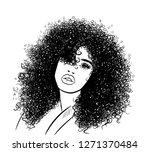 curly beauty girl illustration... | Shutterstock .eps vector #1271370484