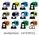 vector black people icons set... | Shutterstock .eps vector #127139111