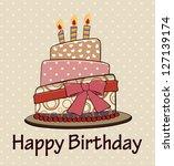 Vector  Birthday Cake Vintage...