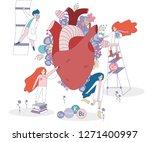 healthy heart vector with... | Shutterstock .eps vector #1271400997