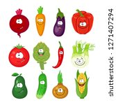 big set of cartoon vegetables... | Shutterstock .eps vector #1271407294