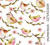 watercolor spring seamless... | Shutterstock . vector #1271421634