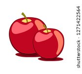 apple red yellow couple simple... | Shutterstock .eps vector #1271422564