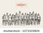people stand close to each... | Shutterstock .eps vector #1271423824