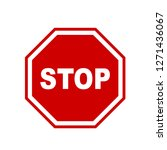 stop sign icon red on white... | Shutterstock .eps vector #1271436067
