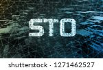 Security Token Offering (STO)  text written in binary format on wired network connection over abstract geometry background. for crypto currency as an alternative to ICO. Token promotion or advertising